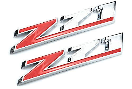2pc Big Size Red Z71 Emblem Decal Badge Replacement for Chevy Silverado Colorado GMC Sierra (Red)