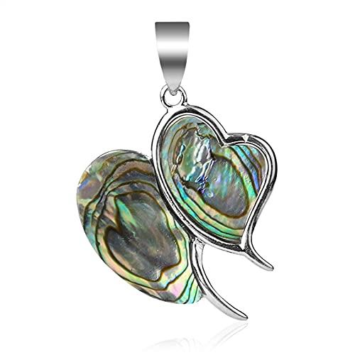 YSJJLRV Edelstein Chakra Steine Double Heart Anhänger Abalone Shell Multi-Color Edelstein Perlen for Halsketten Choker Metall Schmuckherstellung