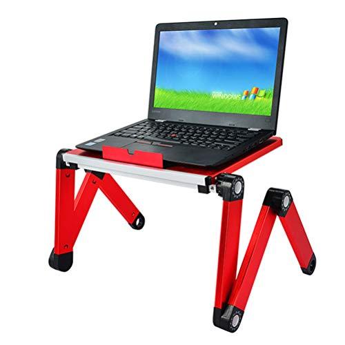 GFYWZ Verstellbarer Laptopständer, tragbarer Laptop-Tischständer, ergonomischer Schreibtisch mit TV-Bettablage,Rot