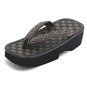 [信貴] 男性用 下雪駄(げせった) 市松 黒畳 厚底草履 紗綾形 日本製 8寸6分
