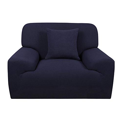 uxcell Stretch Chair Sofa Slipcover 1-Piece Couch Covers Jacquard Non Slip Soft Couch Sofa Cover + 1 Cushion Cover, Furniture Protector for Living Room Navy Blue Small