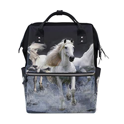 Zaino per la scuola, con tre cavalli bianchi, grande capacità, borsa per computer portatile, stile casual, da viaggio, per donne, uomini, adulti, ragazzi e bambini