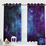 ZXAWT Custom Design Curtains/Grommet Top Blackout Curtains/Thermal Insulated Curtain for Bedroom and Kitchen-Set of 2 Panels(Galaxy Stars. Abstract Space Background 55' W63 L)