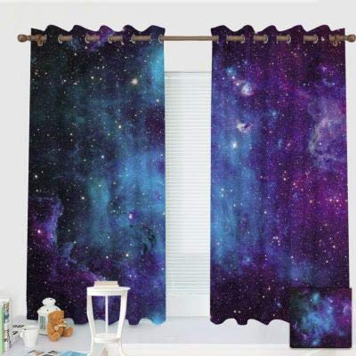 """ZXAWT Custom Design Curtains/Grommet Top Blackout Curtains/Thermal Insulated Curtain for Bedroom and Kitchen-Set of 2 Panels(Galaxy Stars. Abstract Space Background 55"""" W63 L)"""