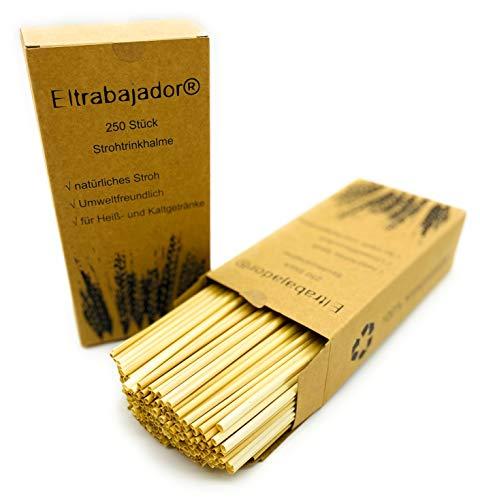 Eltrabajador® 250Stück Trinkhalme 100% BPA frei aus echten Stroh die nachhaltige Alternative zu Plastik Trinkhalmen