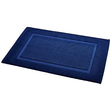 AmazonBasics Banded Bath Mat, Navy Blue