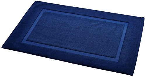 AmazonBasics Banded Bath Mat, Navy Blue