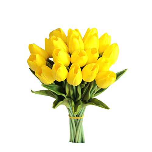"""Mandy's 20pcs Yellow Artificial Tulip Silk Flowers 13.5"""" for Home Kitchen Wedding Decorations"""