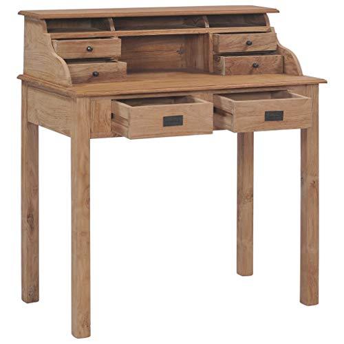 Tidyard Schreibtisch 90×50×100 cm Massivholz Teak mit 6 Schubladen Fächern Computertisch PC Tisch Sekretär Bürotisch Arbeitstisch