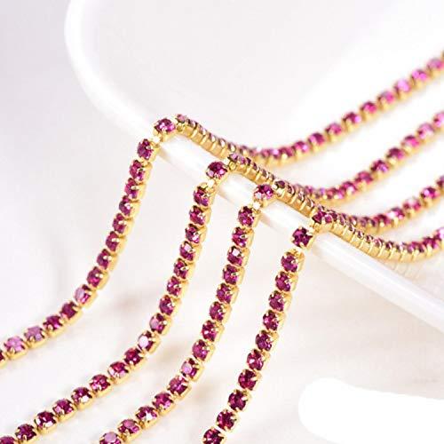 SS6 a SS16 5 Yardas/Rollo de Cristal AB de Alta Densidad Rojo Coser en Diamantes de imitación Cadena de Copa Diamantes de imitación Adornos Garra Dorada para Ropa B0976