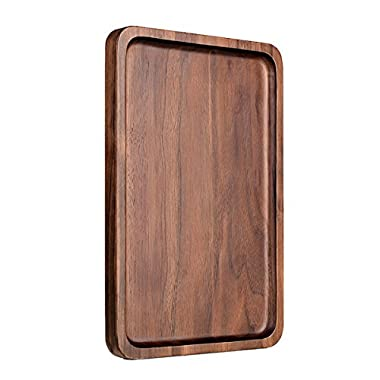 Pandapark Wooden Serving Trays,Black Walnut Spliced,Rectangle,15.4X11.4 Inches,Groove Holder (Rectangle)
