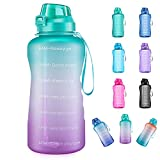 4AMinLA Motivational Water Bottle Gallon Jug with Straw and Time Marker Large Capacity Leakproof BPA Free Fitness Sports Water Bottle (Ombre Green+Purple)