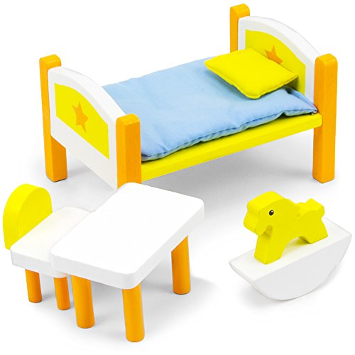 Imagination Generation Dreamland Children's Bedroom Set, Colorful Wooden Dollhouse Furniture (6 pcs)