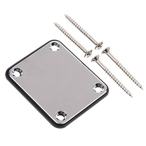 HEALLILY 2 piezas de placa de cuello para guitarra eléctrica con tornillos para reemplazo de bajos Strat Tele Precision Jazz (plata)