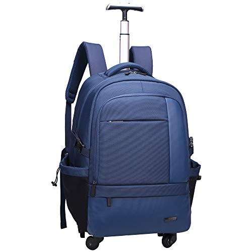 AOKING 21″Water Resistant Rolling Wheeled Backpack Laptop Compartment Bag (Blue)