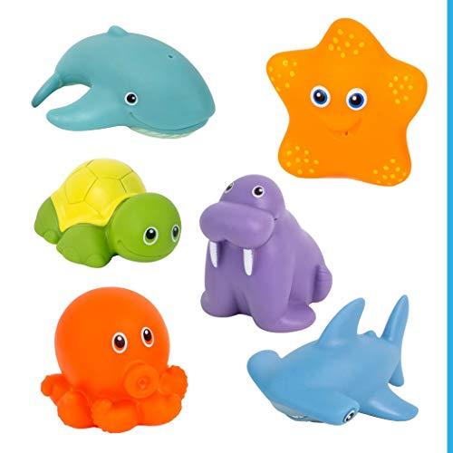 Juguetes de animales acuáticos para bañera, para bebés a partir de 6 meses, juego de 6 unidades, sin BPA ni sustancias nocivas, antimoho, para practicar la motricidad y la fuerza de agarre