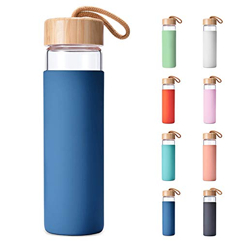 Yomious Borosilicate Glass Water Bottle with Bamboo Lid and Silicone Sleeve - 20 oz - BPA Free - Eco Friendly and Reusable - Leak Proof Design - Carry Strap Built Into Lid (Navy Blue)