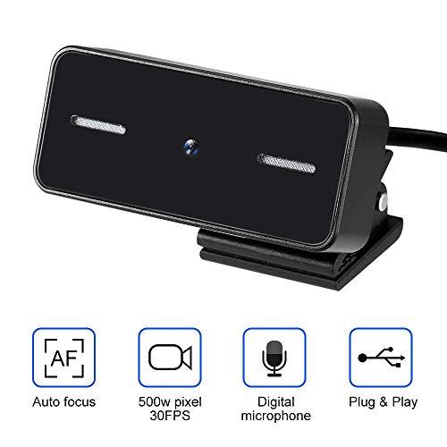 Cofemy - Cámara web de enfoque automático HD 500 W Pixel, soporte USB negro ajustable para cámara de ordenador con micrófono
