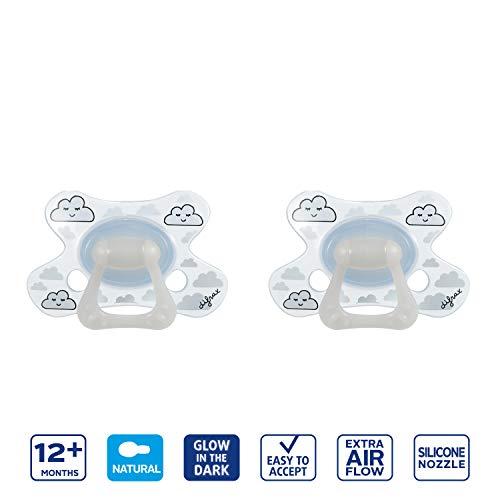Difrax Leuchtender Schnuller 12-18 Monate 2 Stück Natural Kirschform - Jungen und Mädchen, Night, Silikon, Schnelle Akzeptanz, Luftiges schilddesign