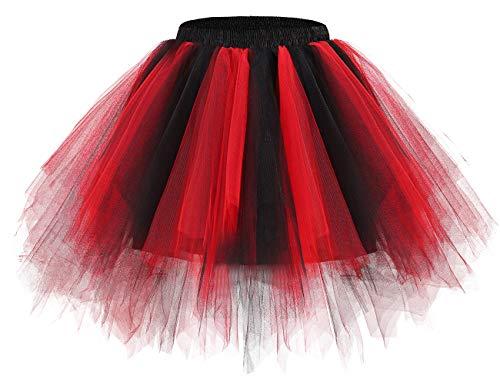 bridesmay bridesmay Tutu Damenrock Tüllrock 50er Kurz Ballet Tanzkleid Unterkleid Cosplay Crinoline Petticoat für Rockabilly Kleid Black-Red L