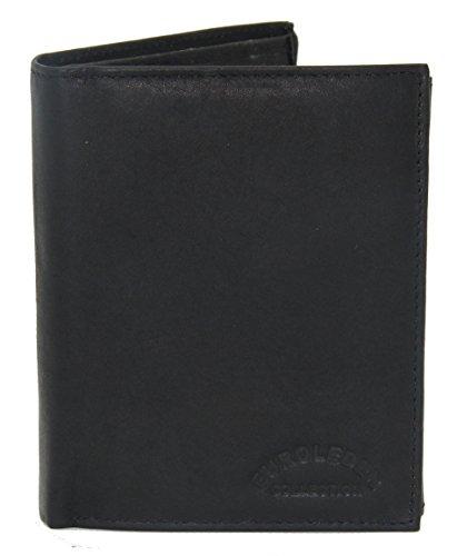 Edle Geldbörse - Echtes Leder - Geldbeutel im Hochformat schwarz - Prägung