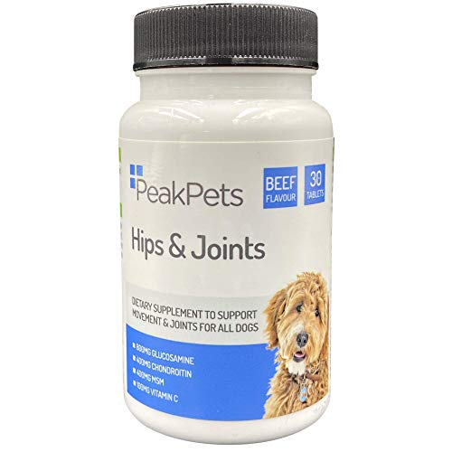 Peak Pets Advanced Dog Joint Supplement: Used by Vets. Triple Strength 800mg Glucosamine, 400mg Chondroitin, 400mg MSM & Added Vitamins | Joint Support, Anti Inflammatory & Pain Relief! (30)