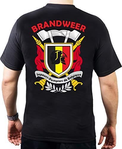 feuer1 T-Shirt (Black) Brandweer - Sapeurs Pompiers de Belgique Multicolore, noir, m