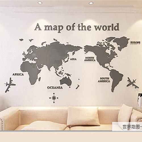NLLeZ 1 UNID 3D Etiqueta de la Pared Etiqueta de Pared Acrílico Decoraciones de la Pared Sala de Estar Dormitorio Mapa del Mundo Pegatinas Decoración del hogar 5 Tamaños One Piece Wallpaper