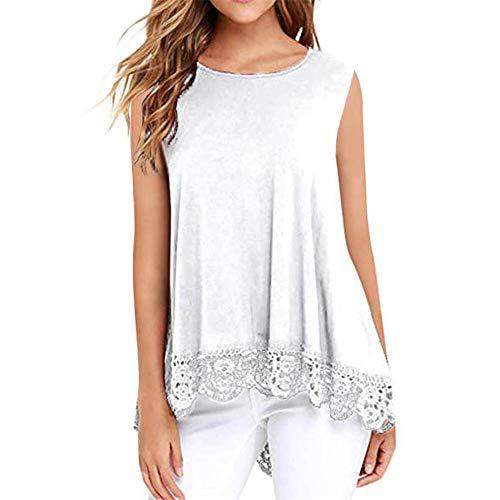 T-Shirt Mujer Elegante Dulce Cuello Redondo Blusa Sin Mangas Moda De Verano Casual De Gran Tamaño Suelta Cómoda Sexy Dobladillo De Encaje Mujer Camisa Mujer Camiseta D-White XL