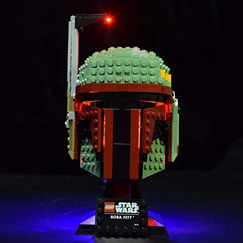 ColiCor Conjunto de Luces Lluminación para LEGO Star Wars Casco de Boba Fett 75277, Kit de luz LED Compatible con Lego 75277