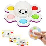 CaLeQi Pulpo Simple Dimple Fidget Juguetes para aliviar el estrés, juguete sensorial para niños pequeños, juguete educativo temprano, desarrollo cerebral(color de botón aleatorio)