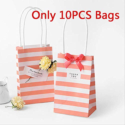 10pcs Bolsa de regalo de rayas de papel Embalaje Galleta de caramelo Embalaje actual Kraft Wedding Party Goodie Bags para dulces rosa