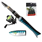 Telescoping Fishing Rods Youth Fishing Pole Bait Runner Fishing Reals Surf Saltwater Mini Compact Fishing Rod and Reel Baitcaster Combo Starter Kit