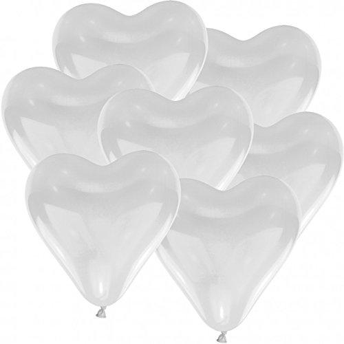 Herz Luftballons weiß Herzballons 25 Stück, Helium Ballons, Ø 30cm, 100% Naturlatex, Luftballon, biologisch abbaubar
