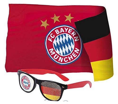 Fahnenfabrik WM Em Set Bandiera + Occhiali per Tifosi Bayern München Compatibile + Adesivi Monaco Forever Munich – rapeau/Bandana/Bandiera/Bandiera/Banner Occhiali
