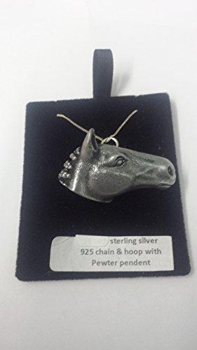 Collar de cadena de plata de ley 925 con efecto de peltre, diseño de cabeza de caballo