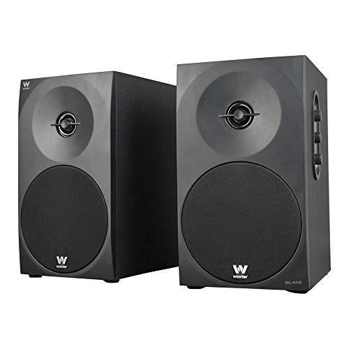 """Woxter DL-410 - Altavoces estéreo 2.0 (autoamplificados con 150W de potencia, madera, woofer de 4"""", 2 Tweeter, 3.5 mm, RCA, bass réflex, control de volumen, agudos y graves), negro"""
