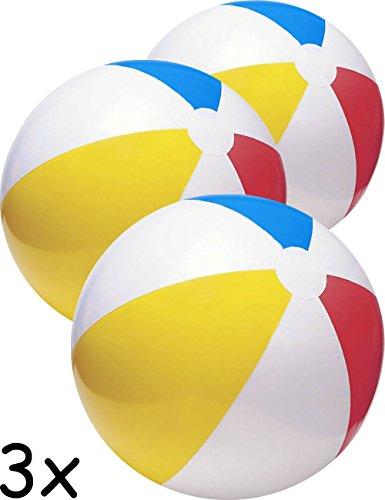 HomeTools.eu® - 3X Bade-Ball, Strand-Ball, Wasser-Ball, Beach-Ball, Bade-Bälle, aufblasbar, Bunt, 50cm, 3er Familien Set