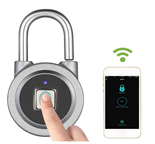 JINGBO Candado de Bluetooth y Huella Dactilar, Touch Sensor Accurate Identification IP65 a Prueba de Agua Smart Keyless Bloqueo Seguro para Casa Puerta Maletas Armarios Bicicleta Bolso