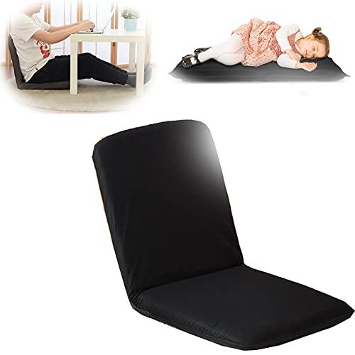 Diumy Verstellbarer Bodenstuhl,5 Position Klappsofa Gaming Lounge Stuhl,Mit Zurück Unterstützung Videospiel Stühle Lazy Boy Recliner Für Das Lesen Gaming Meditieren-Schwarz 85x40cm(33x16inch)