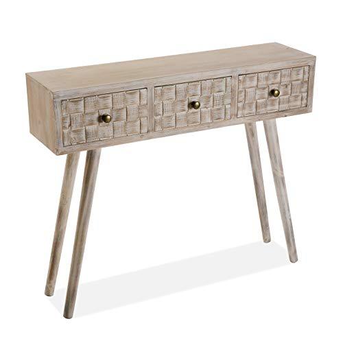 Versa Anish Mueble Recibidor Estrecho para la Entrada o el Pasillo, Mesa Consola, con 3 cajones, Medidas (Al x L x An) 81,5 x 25 x 97 cm, Madera, Color Marrón y gris