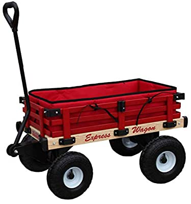 Millside Industries Wooden Express Wagon with 10 Inch Pneumatic Wheels, Red Floor Pad and Surrounding Pads by Millside Industries Inc