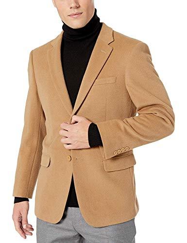 Prontomoda Men's 2 Button Luxury Wool Cashmere Camel Sport Coat 46R