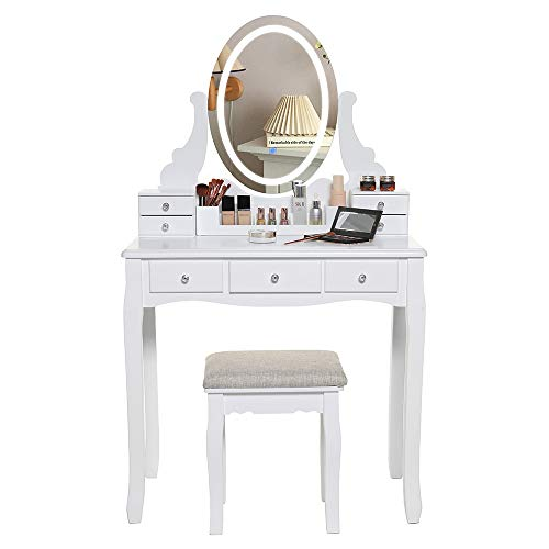 IWELL Vanity Table Set with 3 Colors Light & 1 Frameless Mirror, -