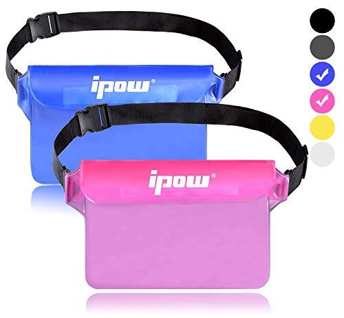 ipow 2 Pack wasserdichte Tasche Beutel Hülle Unterwassertasche Bauchtasche vollkommen für iPhone, Handy, Kamera, iPad, Bargeld, Dokumente vor Wasser schützen (pink+ blau)