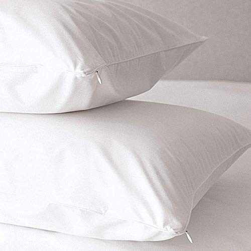 Breathable Waterproof 100% Brushed Cotton Zipped pillow protector, Pair