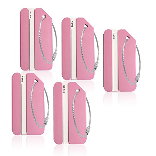 Aluminum Luggage Tag for Luggage Baggage Travel Identifier by CPACC (Pink 5 Pcs)