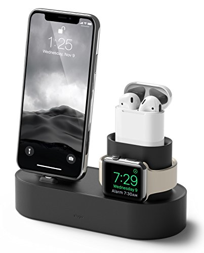 Elago Stand 3 in 1 Dock Station Caricatore per Apple Watch SE/Serie 6 (2020)/5/4/3/2/1, Apple AirPods 2/1, iPhone 11 e Tutti i Modelli di iPhone Ricarica [Cavi Originali necessari Non Inclusi](Nero)