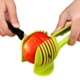 SPHTOEO Tomatoes Lemons Potatoes Round Fruits Vegetables Slicer Holder with Firm Grip Handle for Precise Cuts