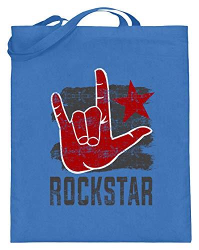 Rockstar Rock'n'Roll Hand - Pommesgabel - Schlichtes Und Witziges Design - Jutebeutel (mit langen Henkeln)